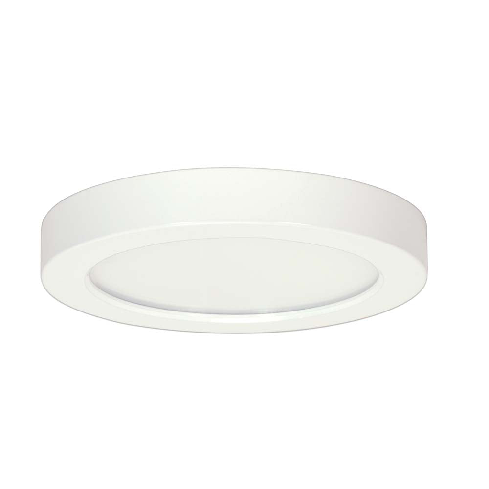 Satco 9in. 18.5w 3000K LED Flush Mount Fixture Round White Finish 277 volts