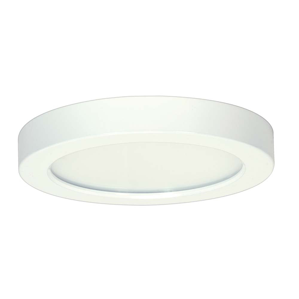 Satco 7in 13.5w. LED Fixture 3000K Round White Finish 120 volts 0-10V Dimming