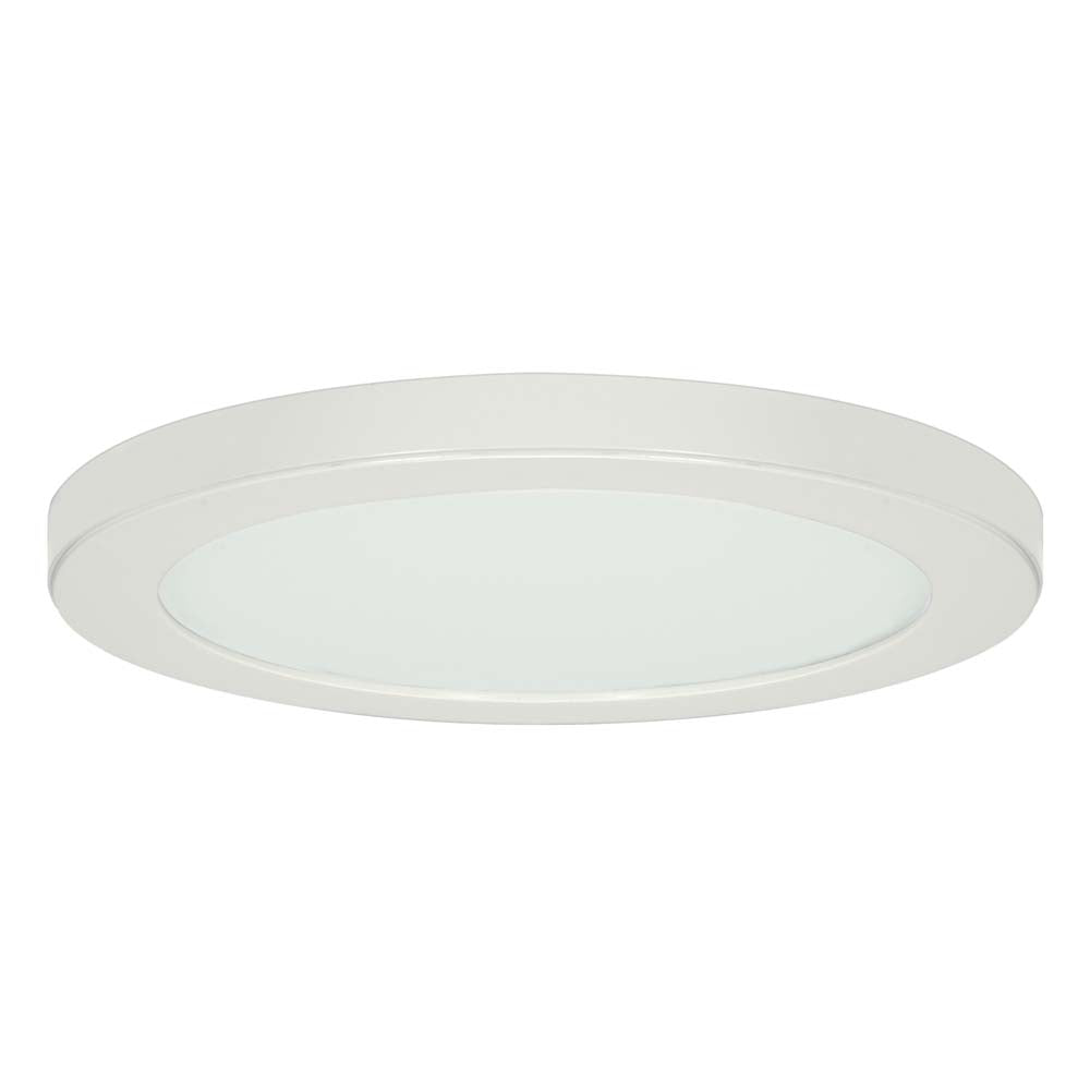 Satco 13in. 25w Flush Mount LED Fixture 4000K RoundWhite Finish 120 volts