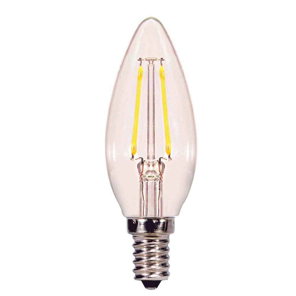Satco 2.5w C11 Candle LED Filament E12 Candelabra base 2700K 200Lm Dimmable Bulb