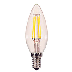 Satco 4w C11 LED Clear Candelabra base 2700K 350 lumens 120 volts