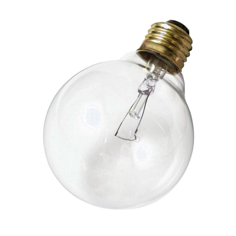 Satco S3447 25W 120V Globe G25 Clear E26 Base Incandescent light bulb
