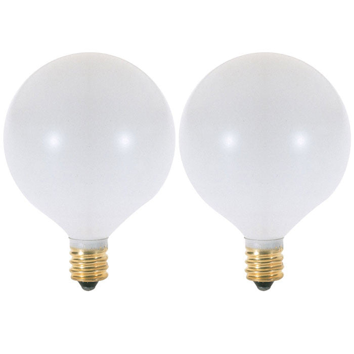 Satco S3752 15W 120V Globe G16.5 Satin White E12 Candelabra Base -2 light bulbs