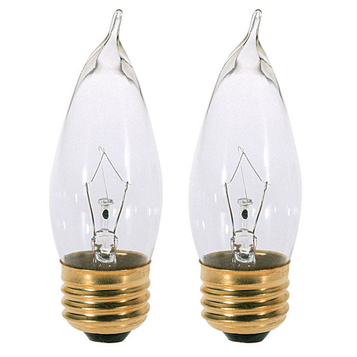 Satco S3765 40W 120V CA10 Clear E26 Base Incandescent light bulb x 2 Pack
