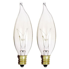 Satco S3774 25W 120V CA8 Clear E12 Candelabra Base Incandescent lamp - 2 bulbs