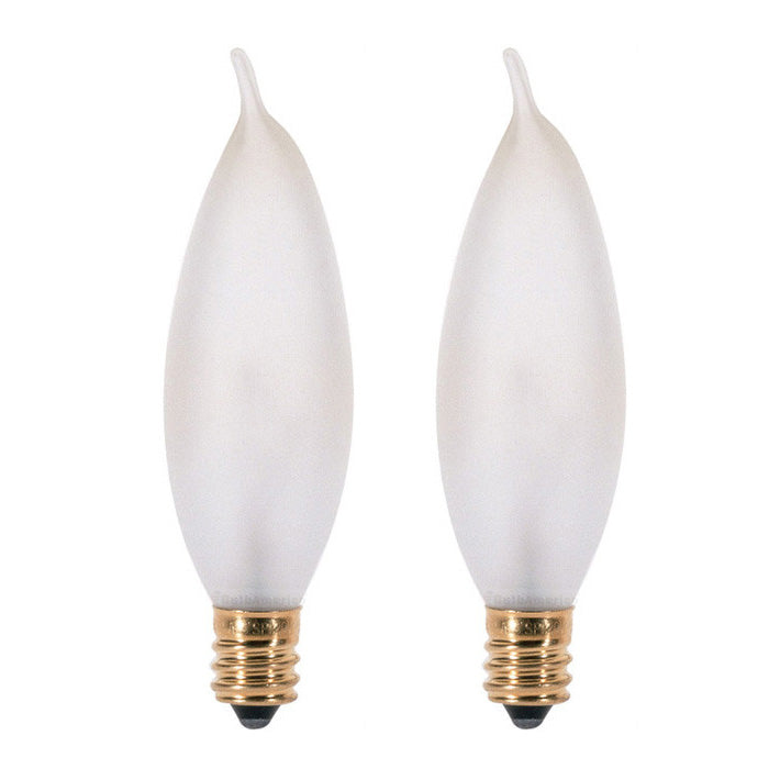 Satco S3777 15W 120V CA8 Frosted E12 Incandescent bulb - 2 pack