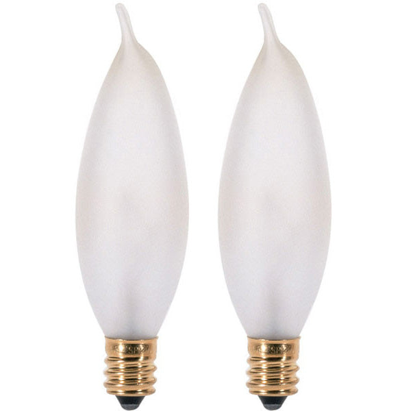 Satco S3778 25W 120V CA8 Frosted E12 Candelabra Base Incandescent -2 light bulbs