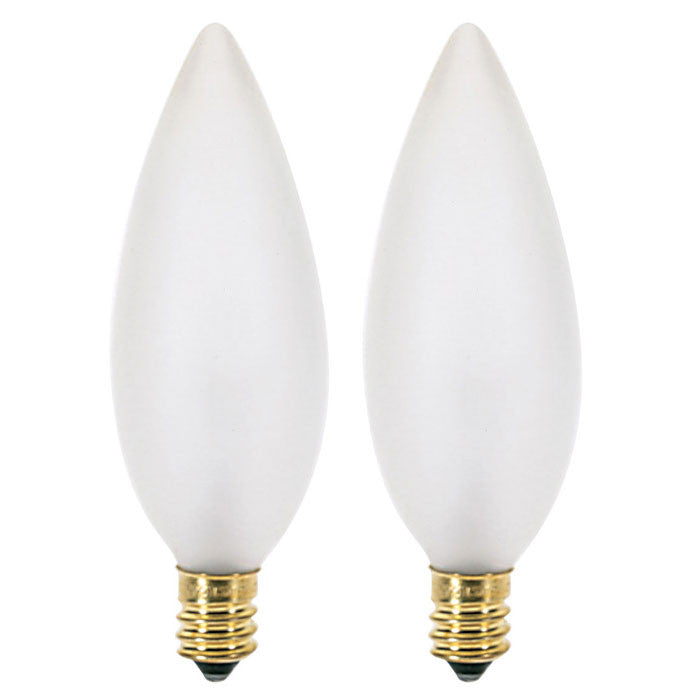 Satco S3787 60W 120V B10 Frosted E12 Candelabra Incandescent - 2 bulbs
