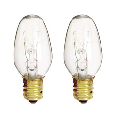 Satco S3791 7W 120V C7 Clear E12 Incandescent bulb - 2 pack