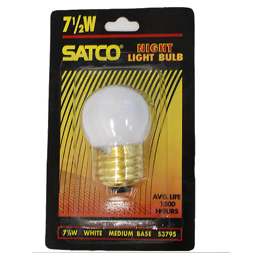 Satco S3795 7.5W 120V S11 Gloss White E26 Base Incandescent bulb