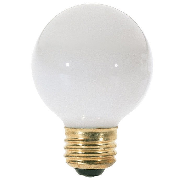 Satco S3827 25W 120V Globe G18.5 Gloss White E26 Base Incandescent light bulb