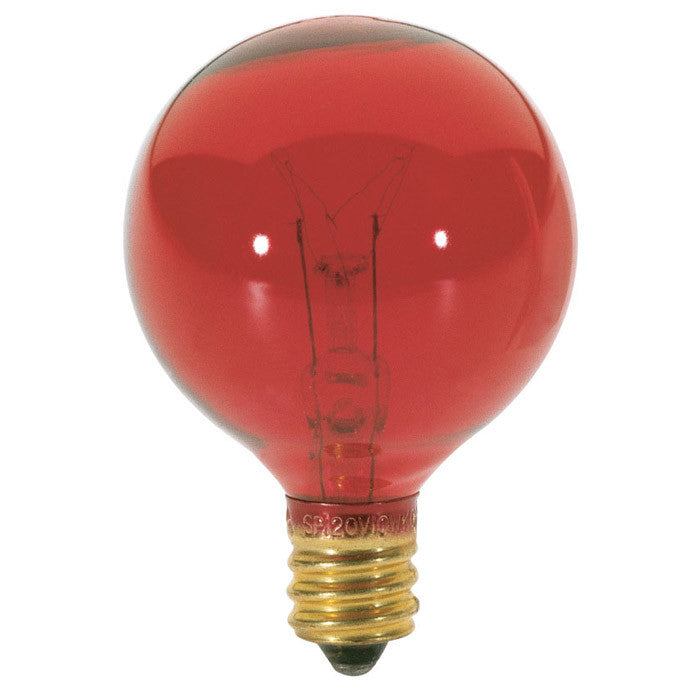 Satco S3833 10W Transparent Red Globe G12.5 Candelabra base Incandedscent bulb