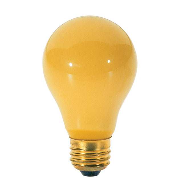 2Pk - Satco S3859 40W 130V A19 Yellow E26 Base Incandescent light bulb