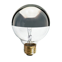 Satco S3862 60W 120V Globe G25 Silver Crown E26 Base Incandescent light bulb