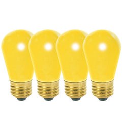 4 Pk - Satco S3960 11W 130V S14 Ceramic Yellow E26 Base Incandescent bulb