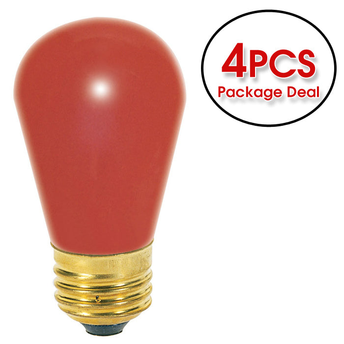 Satco S3961 11W 130V S14 Ceramic Red E26 Incandescent light bulb - 4 pack