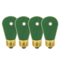 Satco S3962 11W 130V S14 Ceramic Green E26 Base - 4 light bulbs