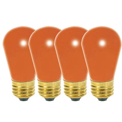 Satco S3964 11W 130V S14 Ceramic Orange E26 Base - 4 bulbs/PK
