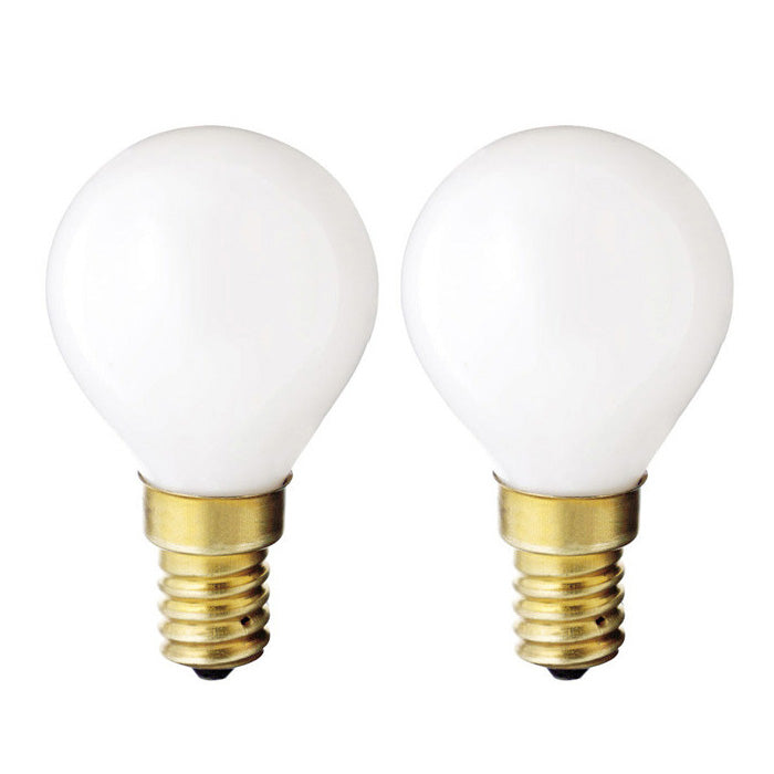 2 Pk - Satco S4708 40W 130V Globe G14 Gloss White European E14 Base bulbs