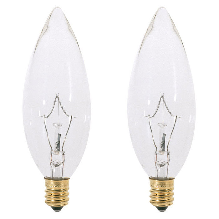 2 Pk - Satco S4711 25W 120V B9.5 Clear E14 Intermediate Base Incandescent  bulb