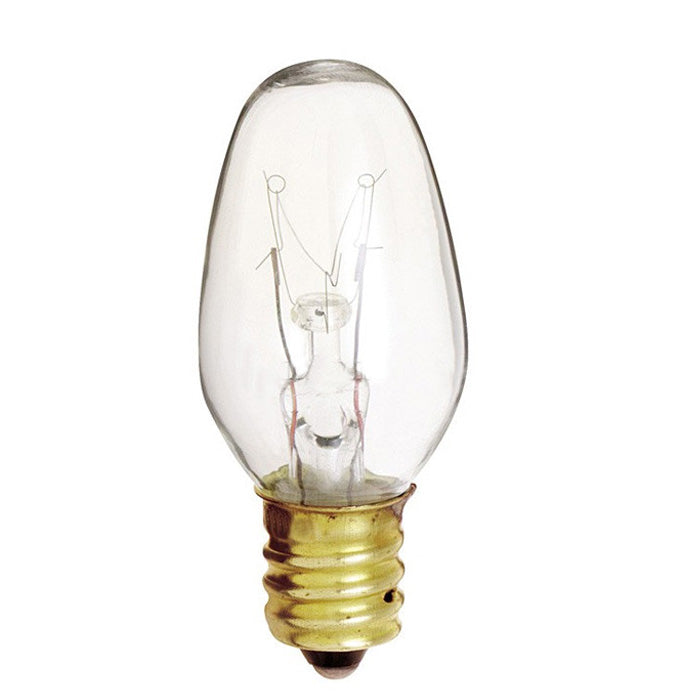 Satco S4725 7W 120V C7 Clear E12 Candelabra Base Incandescent bulb x 4 pack