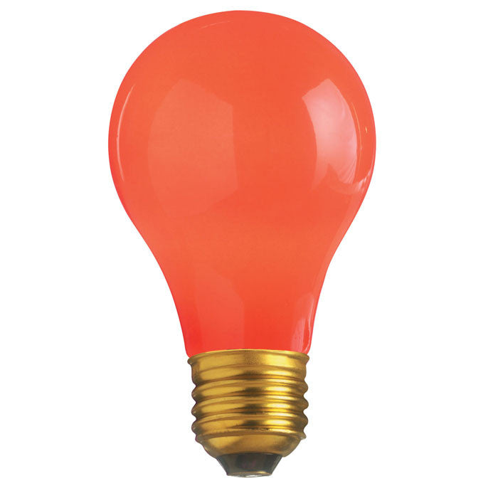 Satco S4984 60W 130V A19 Ceramic Red E26 Base Incandescent light bulb