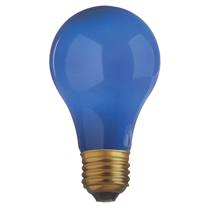 Satco S4985 60W 130V A19 Ceramic Blue E26 Base Incandescent light bulb