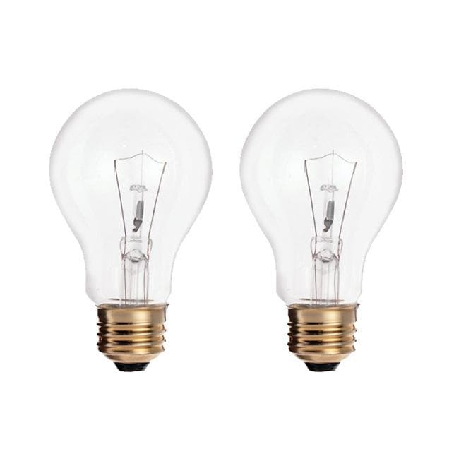 Satco S6042 60W 120V A19 Clear E26 Incandescent light bulb - 2 pack