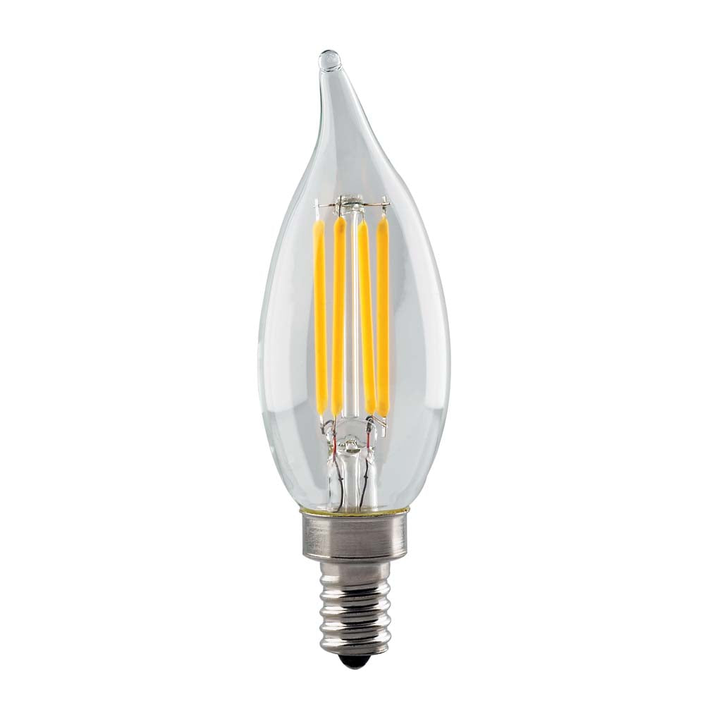 Satco 4.5w CA11 LED Filament Clear Candelabra base 350Lm 2700K Dimmable Bulb