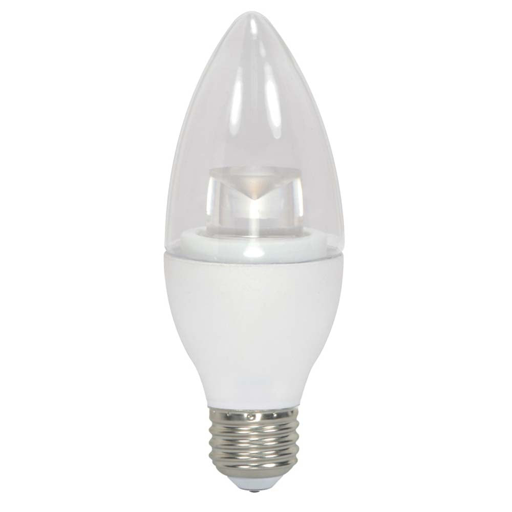 Satco 4.5W B11 Torpedo, E26 Base Candelabra LED Light Bulb - 3000K
