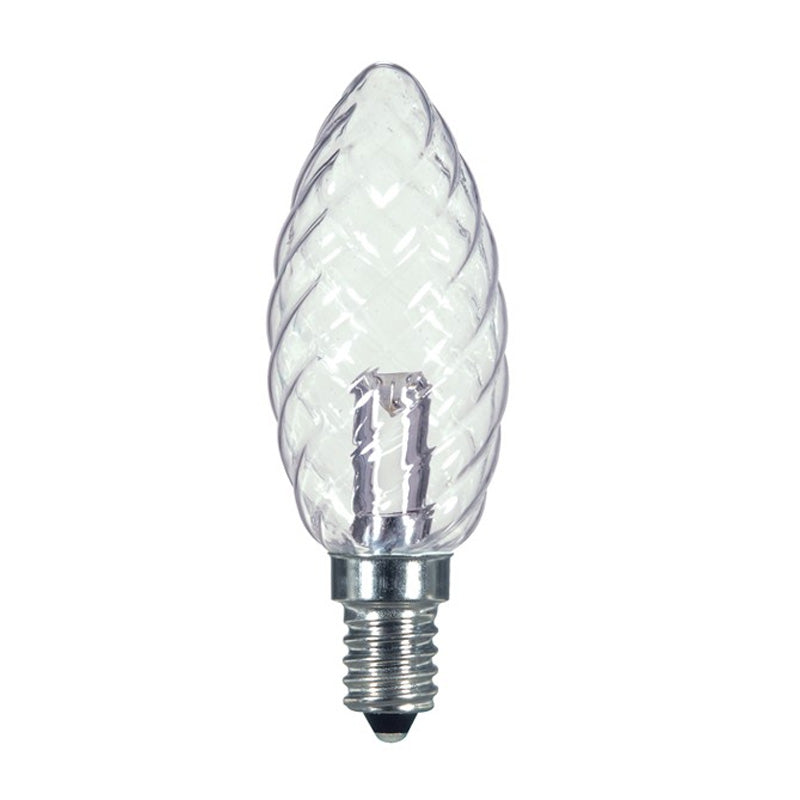 Satco S9155 1W 120V B9.5 Clear Crystal  E12 Candelabra Base LED Bulb