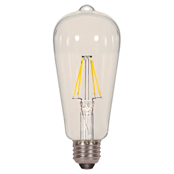 Satco S9581 6.5W Antique Filament LED 2700K ST19 E26 Light Bulb - 60W equiv.