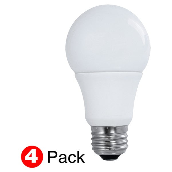 4Pk - Satco 10W A19 LED 4000K Cool White Non-Dimmable - 60W Equiv.