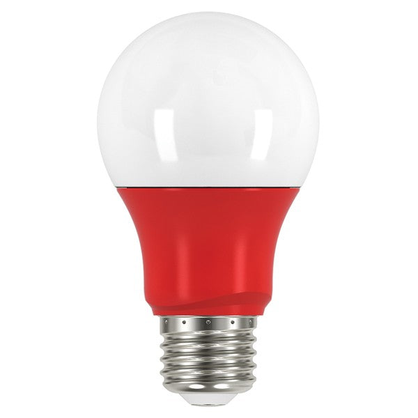 Satco S9642 2W LED Red A19 A-Shape E26 120V Light Bulb