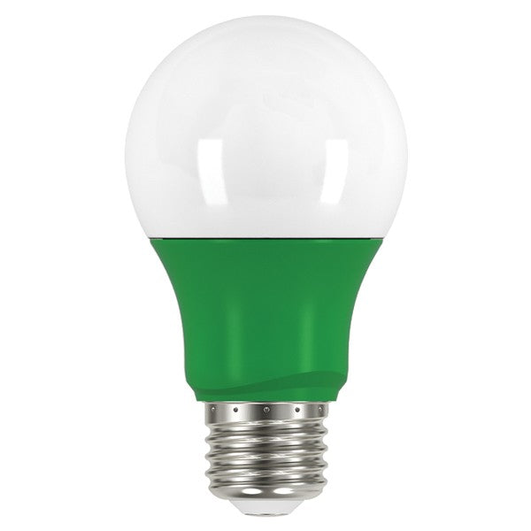 Satco S9643 2W LED Green A19 A-Shape E26 120V Light Bulb