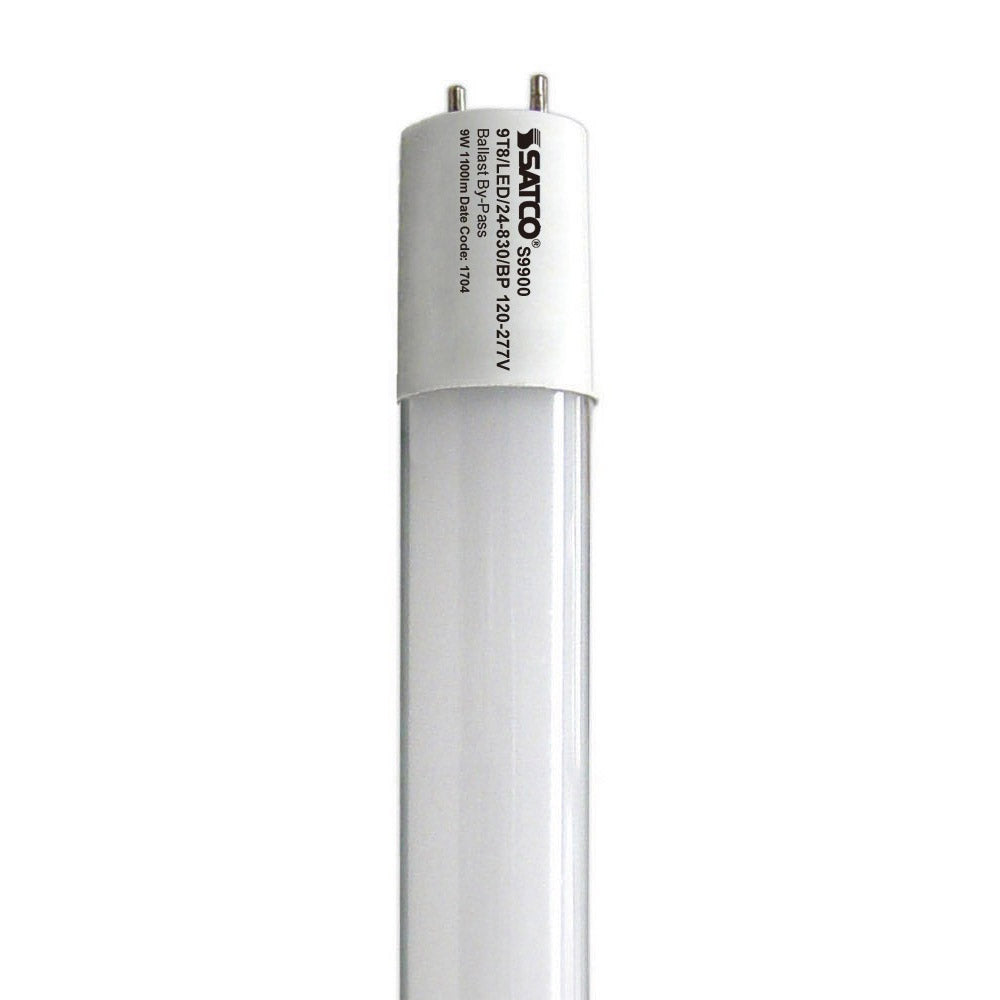 Satco S9900 9W 2ft. T8 LED Tube 3000K Warm White Medium BiPin base 1100Lm