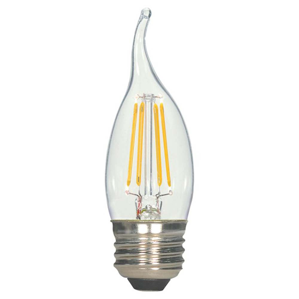 5.5w CA11 LED 120v Flame tip Clear E26 Medium base 2700K Warm White Dimmable Light Bulb
