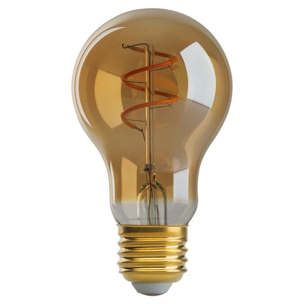 Satco Antique Spiral LED Filament 4w A19 2000k Dimmable E26 Amber Vintage Bulb