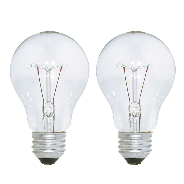 Satco S3940 25W 130V A19 Clear E26 Incandescent light bulb - 2 pack