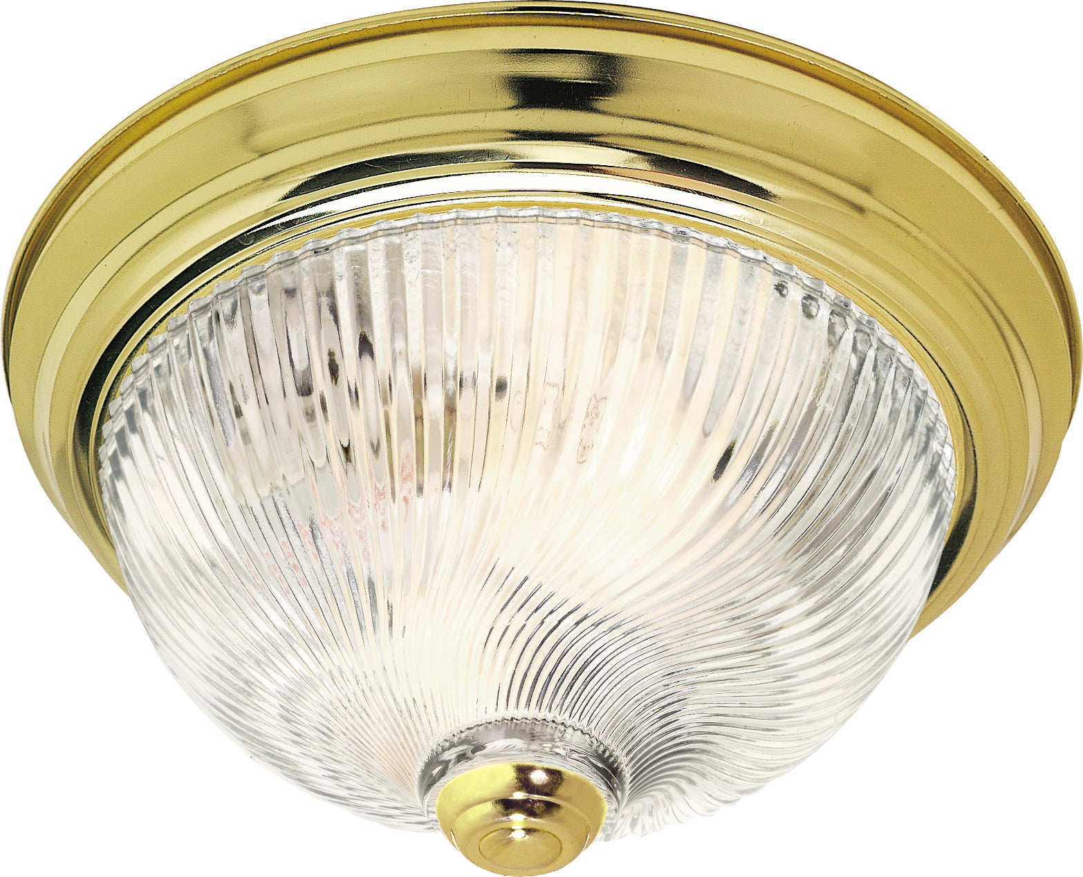 """Nuvo 2-Light 13"""" Flush Mount w/ Clear Ribbed Swirl Glass in Polished Brass"""