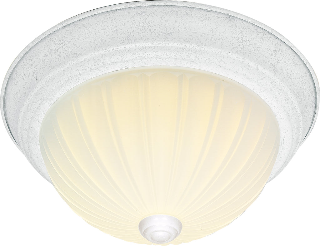 "Nuvo 2-Light 11"" Flush Mount w/ Frosted Melon Glass in Textured White Finish"