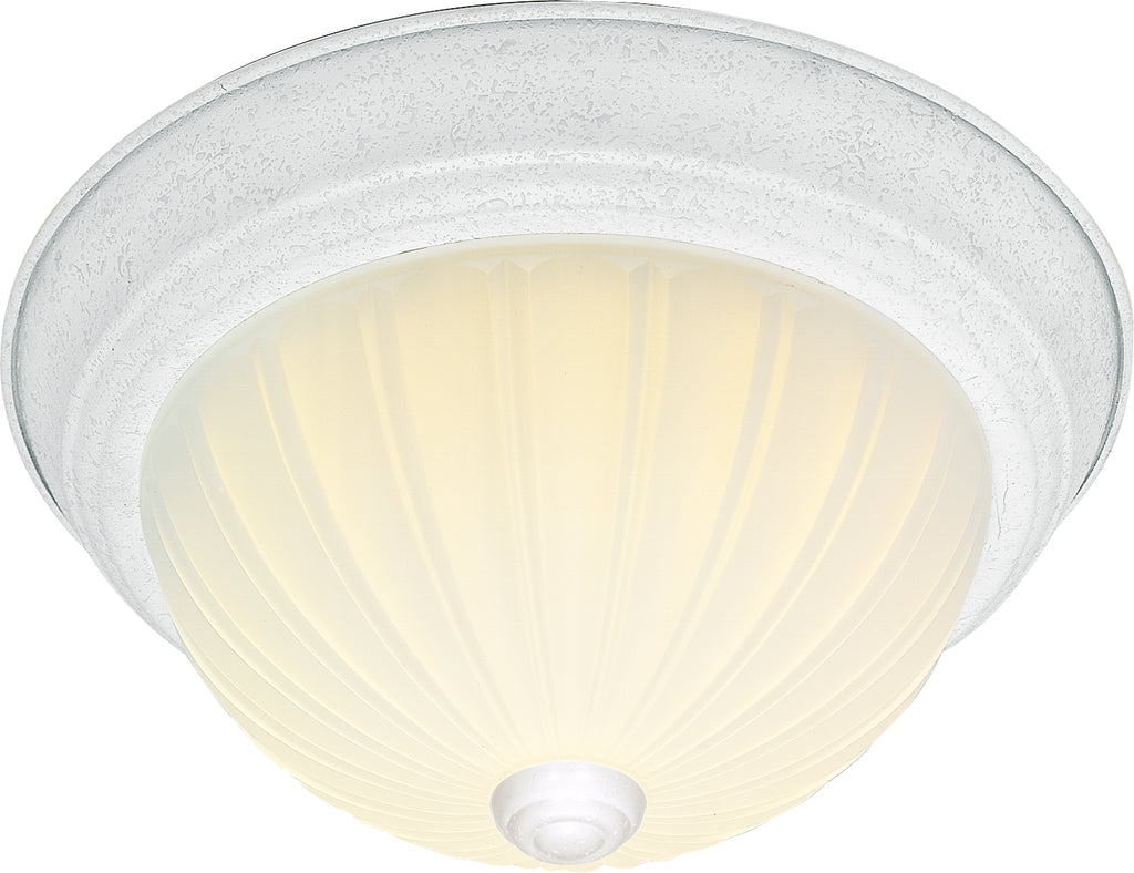 "Nuvo 2-Light 13"" Flush Mount w/ Frosted Melon Glass in Textured White Finish"