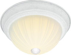 "Nuvo 3-Light 15"" Flush Mount w/ Frosted Melon Glass in Textured White Finish"
