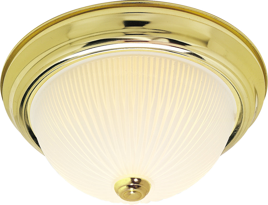 "Nuvo 2-Light 11"" Flush Mount w/ Frosted Ribbed in Polished Brass Finish"