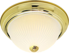 "Nuvo 2-Light 13"" Flush Mount w/ Frosted Ribbed in Polished Brass Finish"