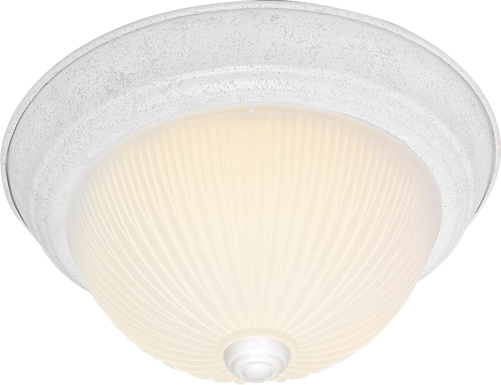 "Nuvo 2-Light 13"" Flush Mount w/ Frosted Ribbed Glass in Textured White Finish"