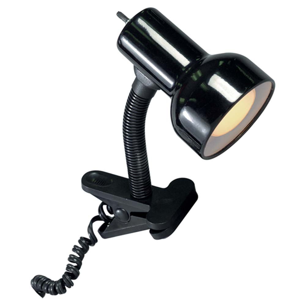 Satco 60w Black Clip On Goose Neck Lamp Black Finish