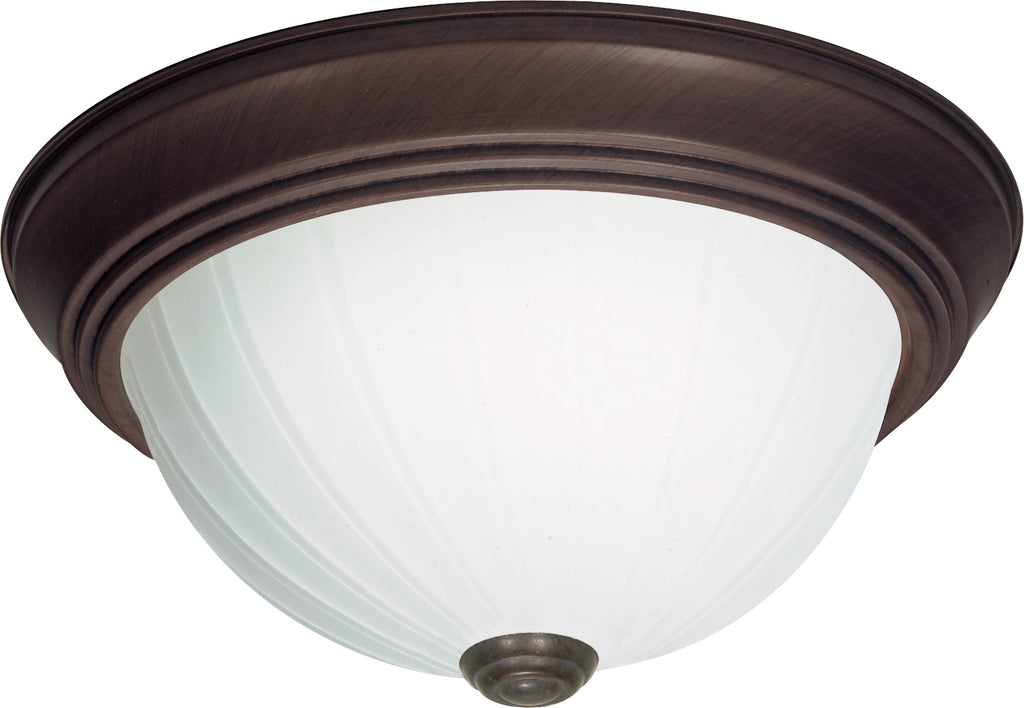"Nuvo 2-Light 13"" Flush Mount w/ Frosted Melon Glass in Old Bronze Finish"