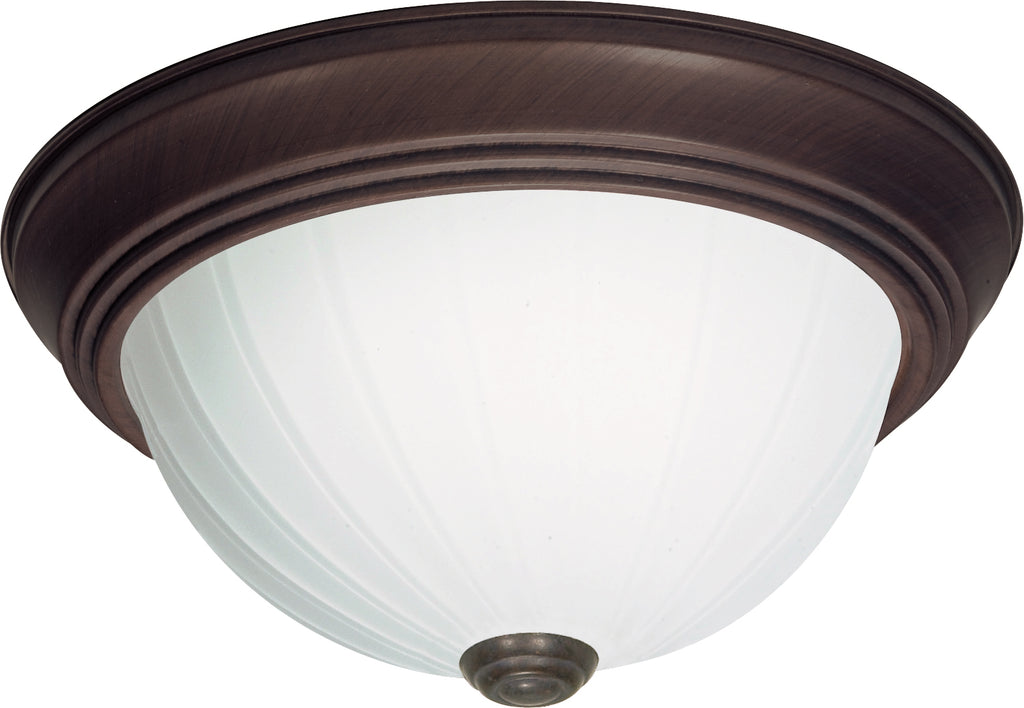 "Nuvo 3-Light 15"" Flush Mount w/ Frosted Melon Glass in Old Bronze Finish"