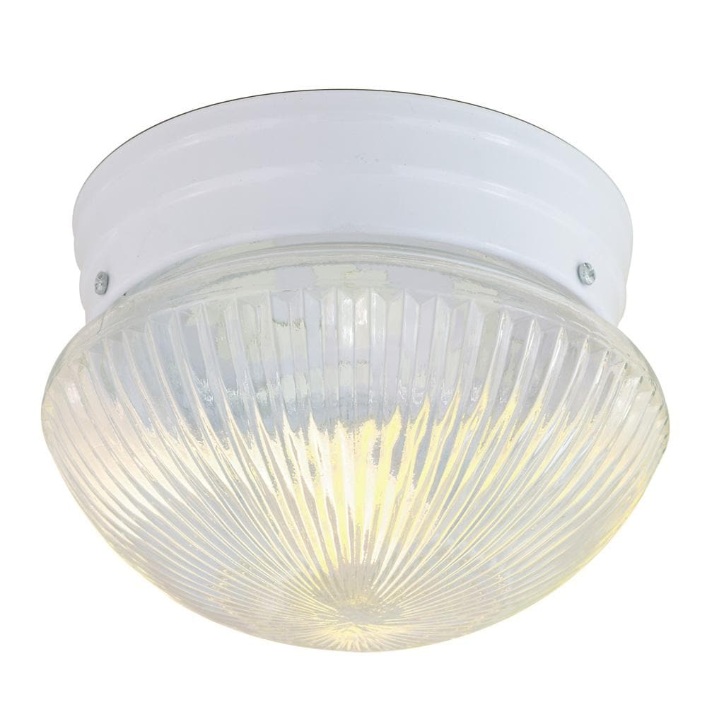 """1-Light 8"""" Flush Mounted Close-to-Ceiling Light Fixture in White Finish"""